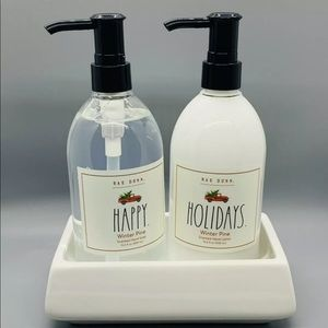 Rae Dunn soap/lotion set w/ceramic soap dish